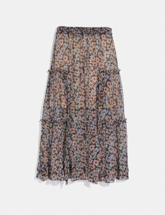 Coach Long Skirt With Front Slits Navy/Khaki Women Ready-to-Wear Bottoms