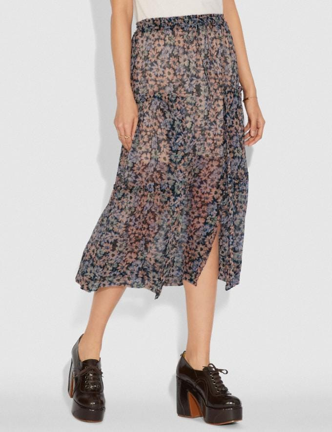 Coach Long Skirt With Front Slits Navy/Khaki Women Ready-to-Wear Bottoms Alternate View 1