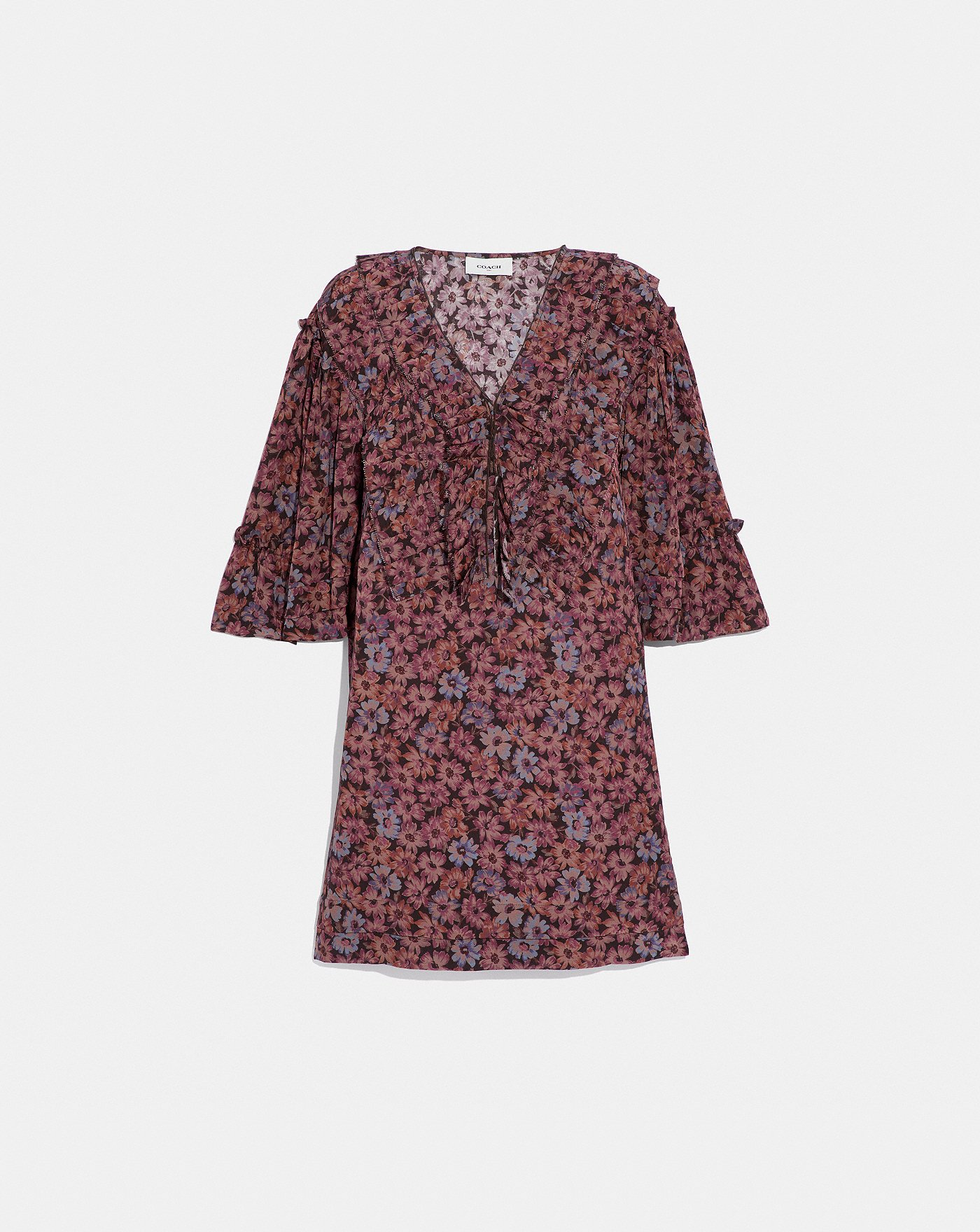 c0b81c778a52 Short Glam Rock Prairie Dress With Ruffles   COACH