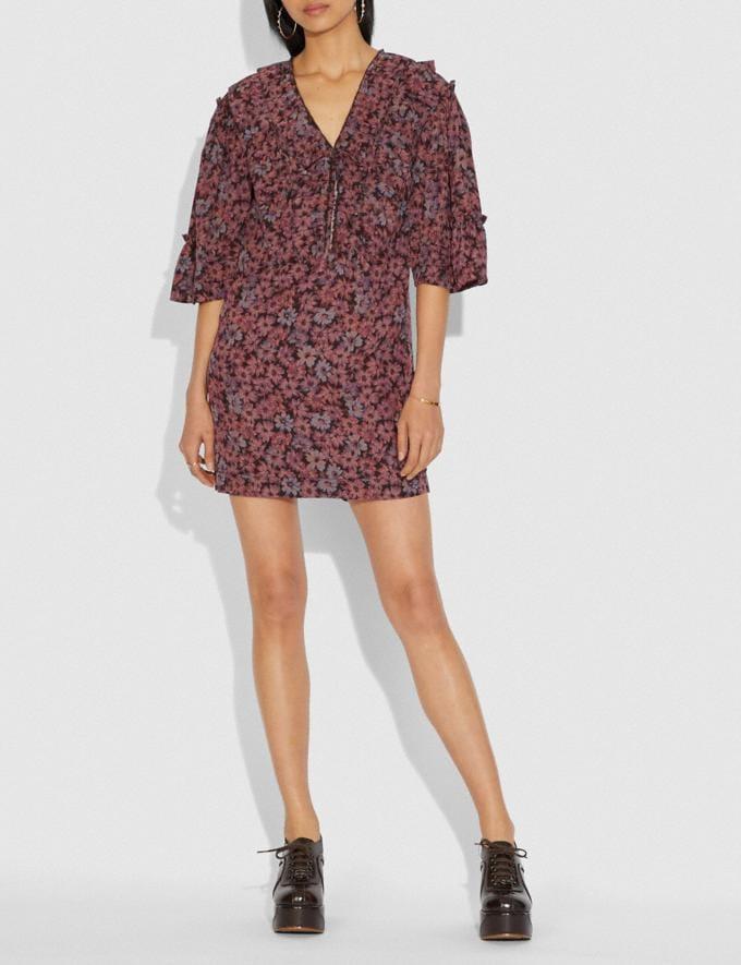 Coach Short Glam Rock Prairie Dress With Ruffles Fuschia/Brown SALE Women's Sale Ready-to-Wear Alternate View 1