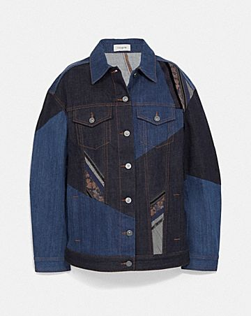pretty punk patch oversized denim jacket