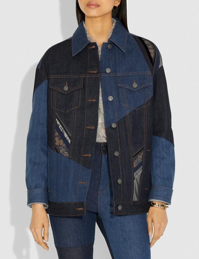 Coach Pretty Punk Patch Oversized Denim Jacket Denim Women Ready-to-Wear Jackets & Outerwear Alternate View 1