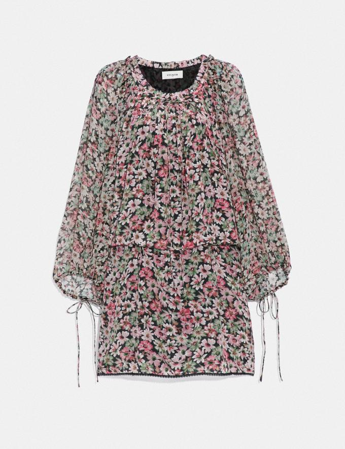 Coach Lacey Dress With Billowy Sleeves Black/Pink Women Ready-to-Wear Dresses