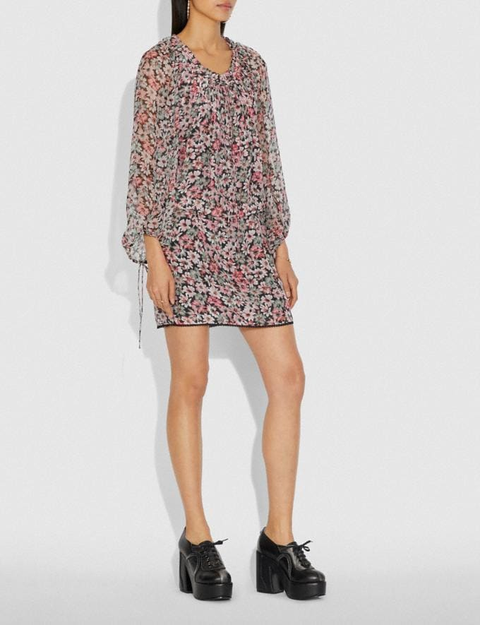 Coach Lacey Dress With Billowy Sleeves Black/Pink Women Ready-to-Wear Dresses Alternate View 1