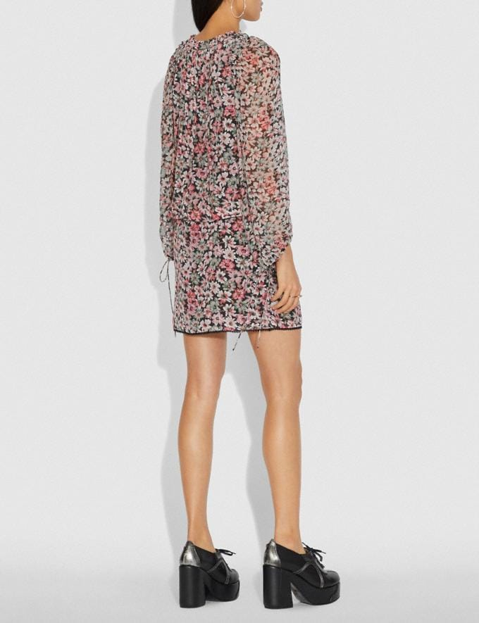 Coach Lacey Dress With Billowy Sleeves Black/Pink Women Ready-to-Wear Dresses Alternate View 2