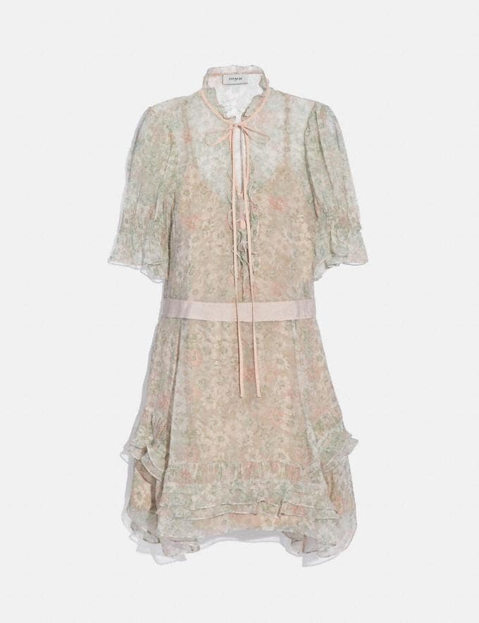 Coach Tiered Dress Cream/Green SALE Women's Sale Ready-to-Wear