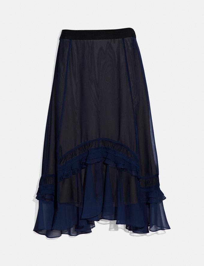 Coach Long Tiered Skirt Navy Women Ready-to-Wear Bottoms