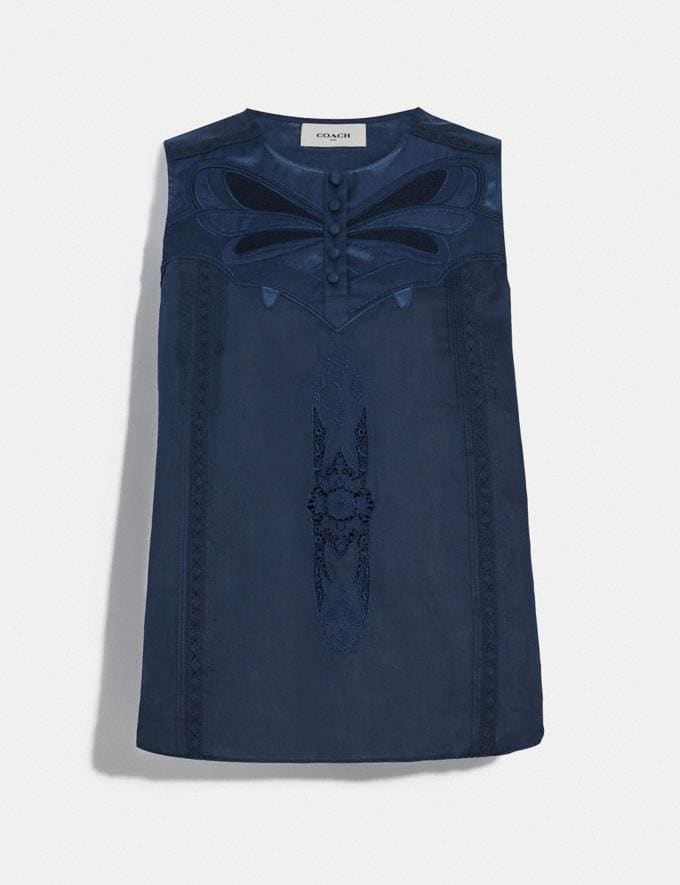 Coach Lacey Applique Sleeveless Top Navy Women Ready-to-Wear Tops