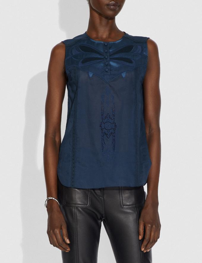 Coach Lacey Applique Sleeveless Top Navy New Women's New Arrivals Ready-to-Wear Alternate View 1