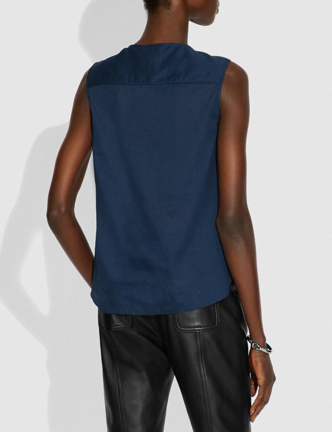 Coach Lacey Applique Sleeveless Top Navy New Women's New Arrivals Ready-to-Wear Alternate View 2