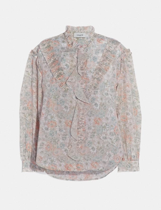 Coach Printed Long Sleeve Blouse With Ruffles Cream/Grey