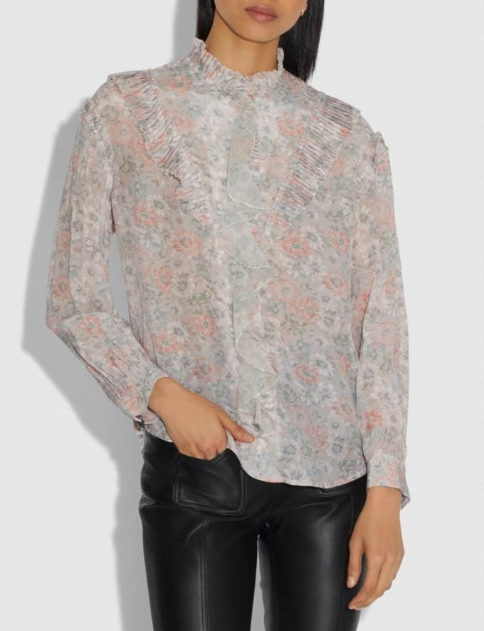 Coach Printed Long Sleeve Blouse With Ruffles Cream/Grey Women Ready-to-Wear Tops & T-shirts Alternate View 1