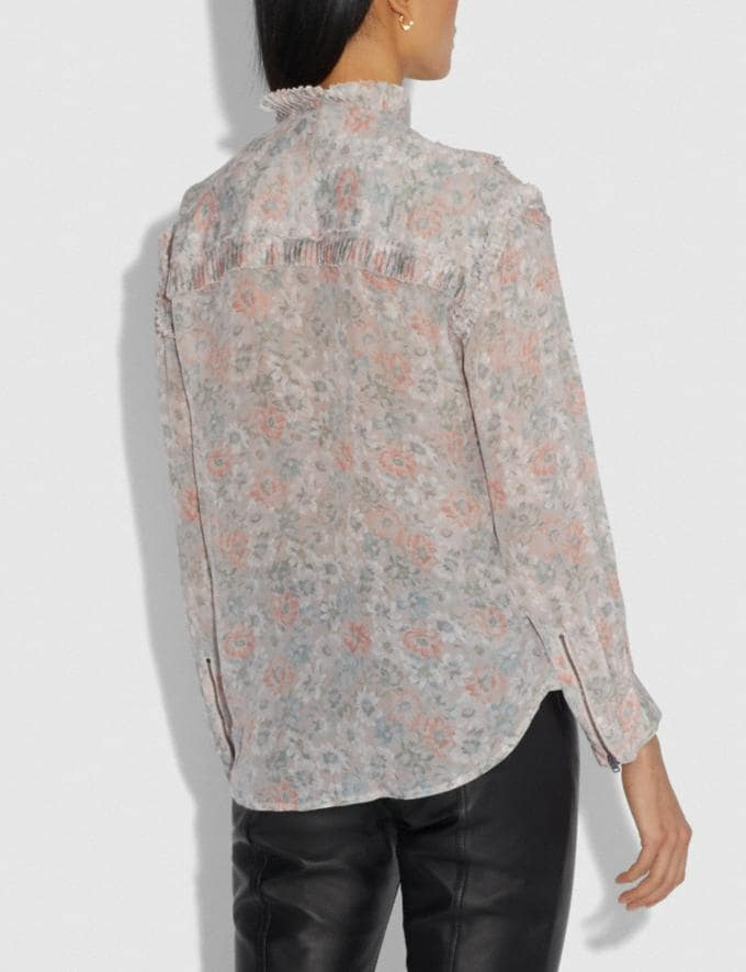 Coach Printed Long Sleeve Blouse With Ruffles Cream/Grey  Alternate View 2