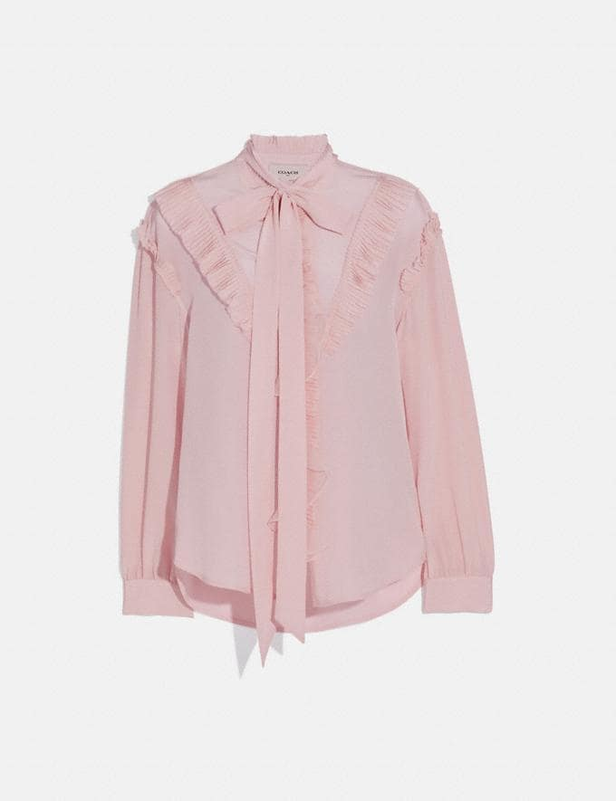 Coach Long Sleeve Glam Rock Prairie Top With Ruffles Blush SALE Women's Sale Ready-to-Wear