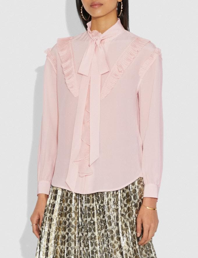 Coach Long Sleeve Glam Rock Prairie Top With Ruffles Blush Women Ready-to-Wear Tops Alternate View 1