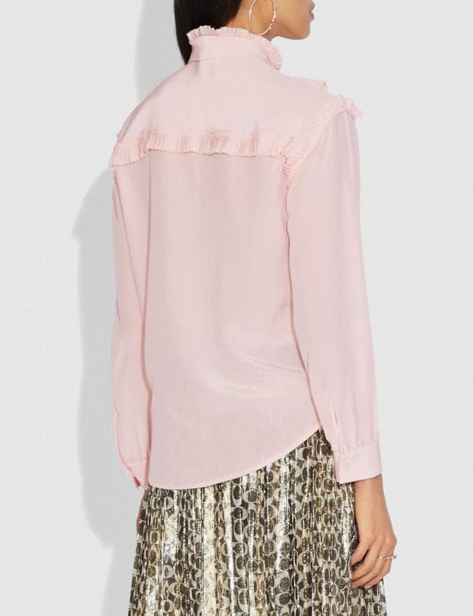 Coach Long Sleeve Glam Rock Prairie Top With Ruffles Blush SALE Women's Sale Ready-to-Wear Alternate View 2
