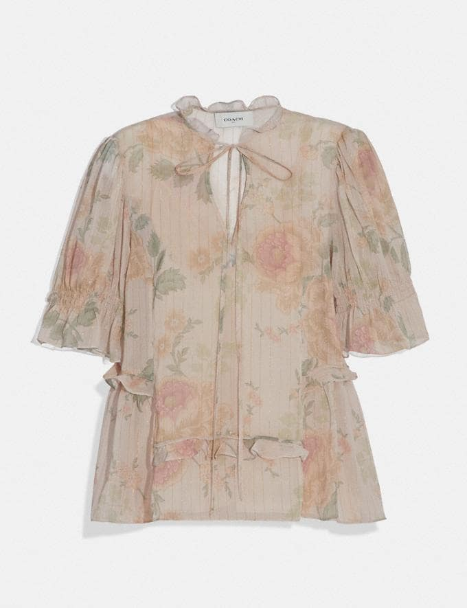 Coach Tiered Top Ivory/Peach Women Ready-to-Wear Tops