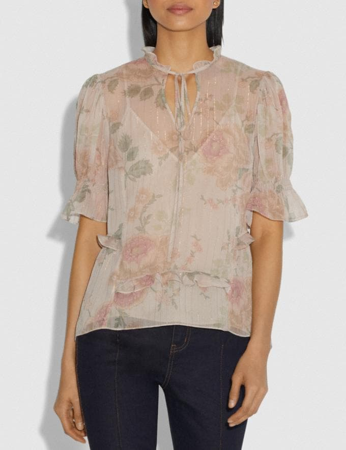 Coach Tiered Top Ivory/Peach Women Ready-to-Wear Tops Alternate View 1