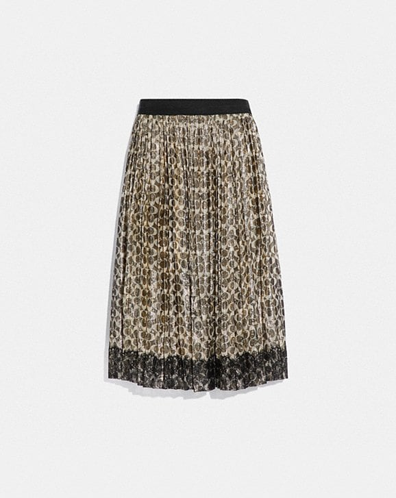 Coach METALLIC PLEATED SKIRT