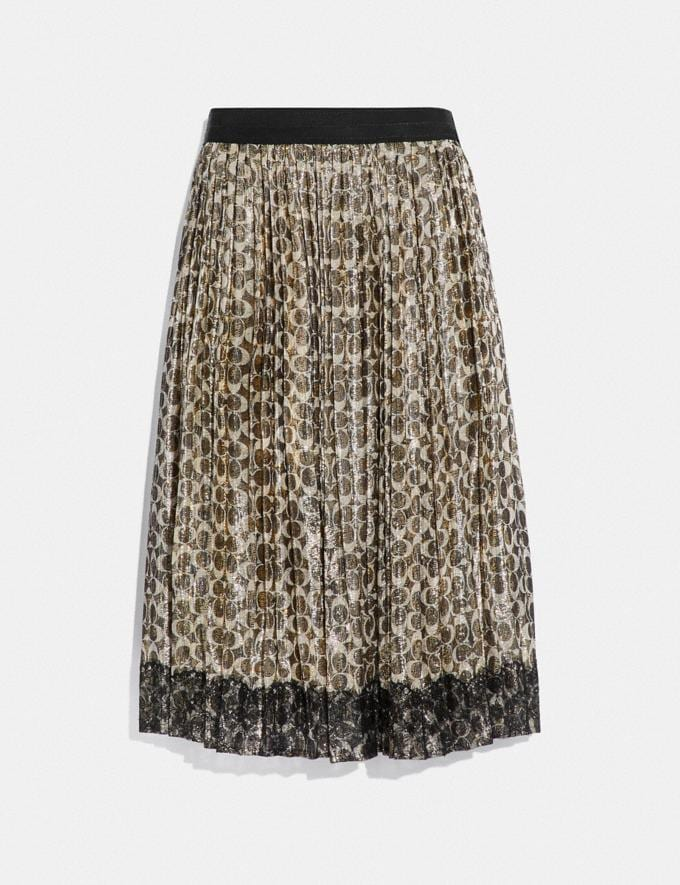 Coach Metallic Pleated Skirt Sig C