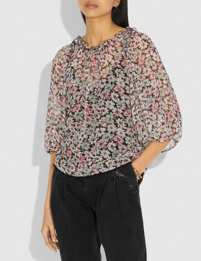 Coach Lacey Top Black/Pink Women Ready-to-Wear Tops Alternate View 1