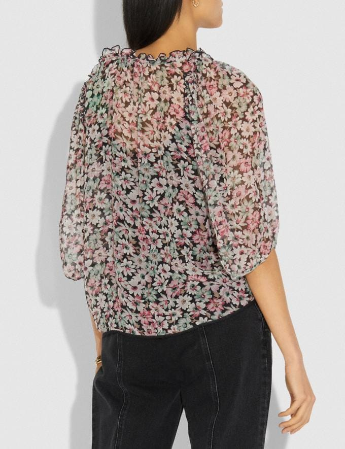 Coach Lacey Top Black/Pink Women Ready-to-Wear Tops Alternate View 2