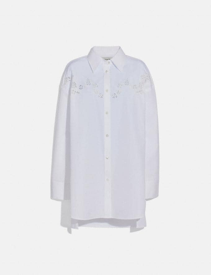 Coach Solid Long Sleeve Poplin Blouse White New Women's New Arrivals Ready-to-Wear