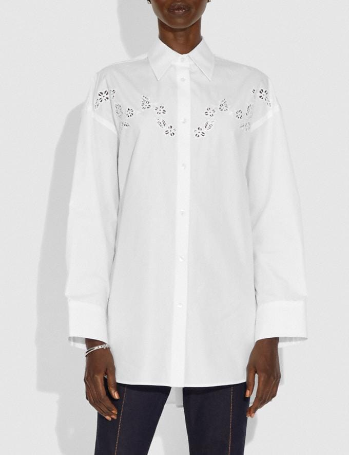Coach Solid Long Sleeve Poplin Blouse White New Women's New Arrivals Ready-to-Wear Alternate View 1