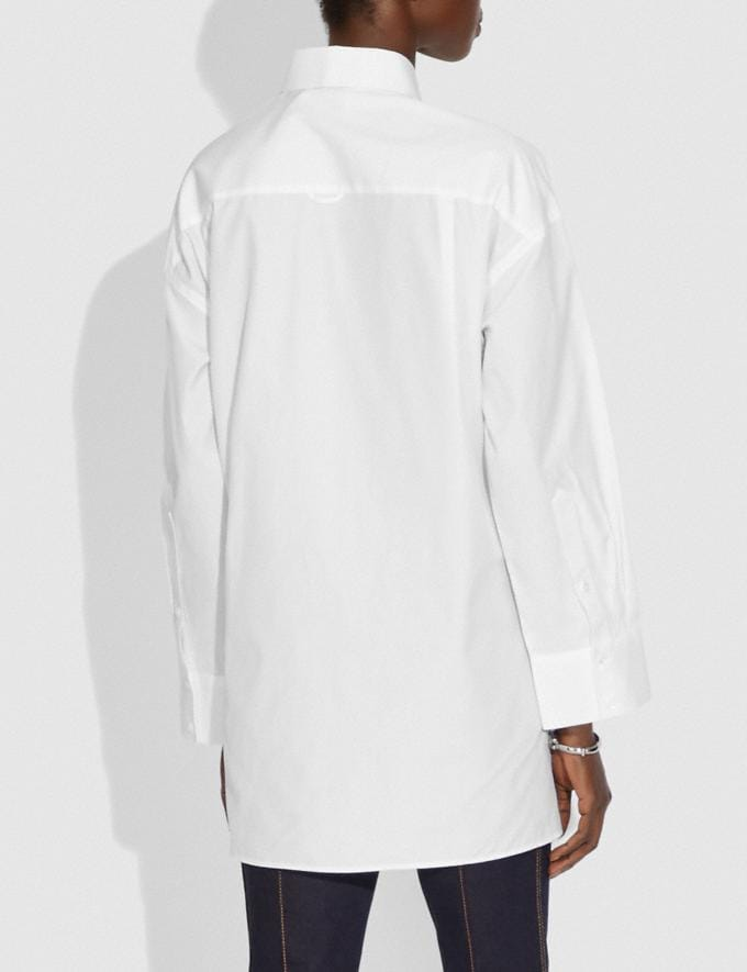 Coach Solid Long Sleeve Poplin Blouse White New Women's New Arrivals Ready-to-Wear Alternate View 2