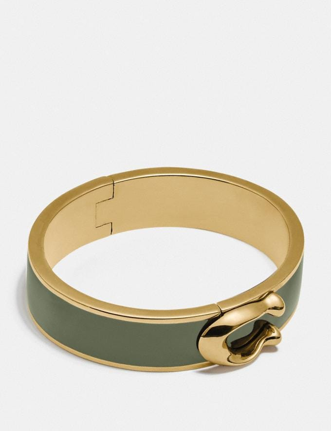 Coach Signature Large Hinged Bangle Gd/Fern New Women's New Arrivals