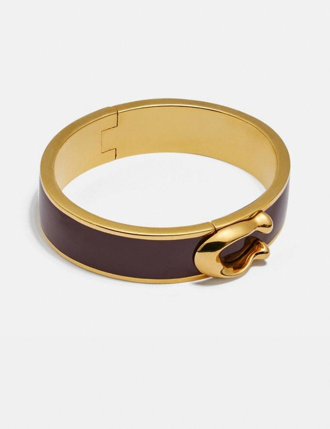 Coach Large Hinged Bangle Wine/Gold Gifts For Her Bestsellers