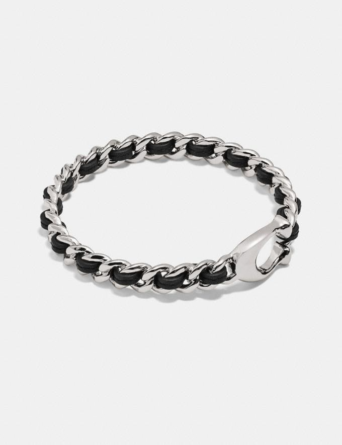Coach Signature Woven Leather Bangle Black/Silver