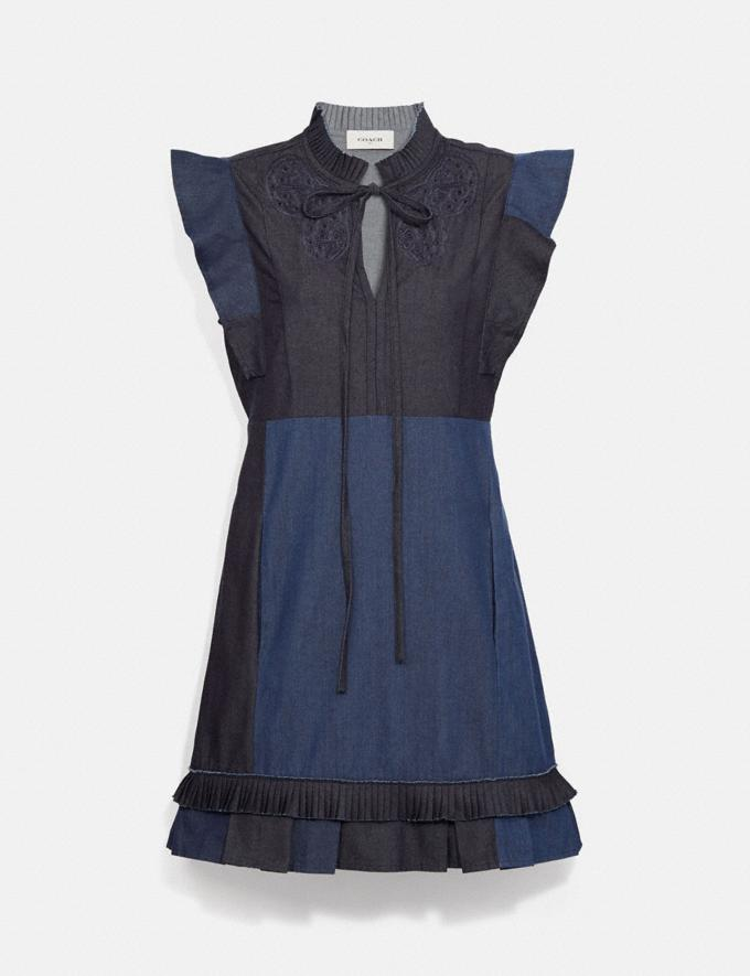 Coach Denim Patchwork Dress With Broderie Anglaise Denim New Women's New Arrivals Ready-to-Wear