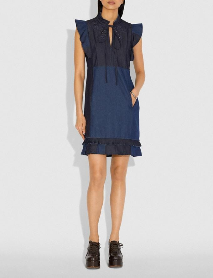 Coach Denim Patchwork Dress With Broderie Anglaise Denim New Women's New Arrivals Ready-to-Wear Alternate View 1