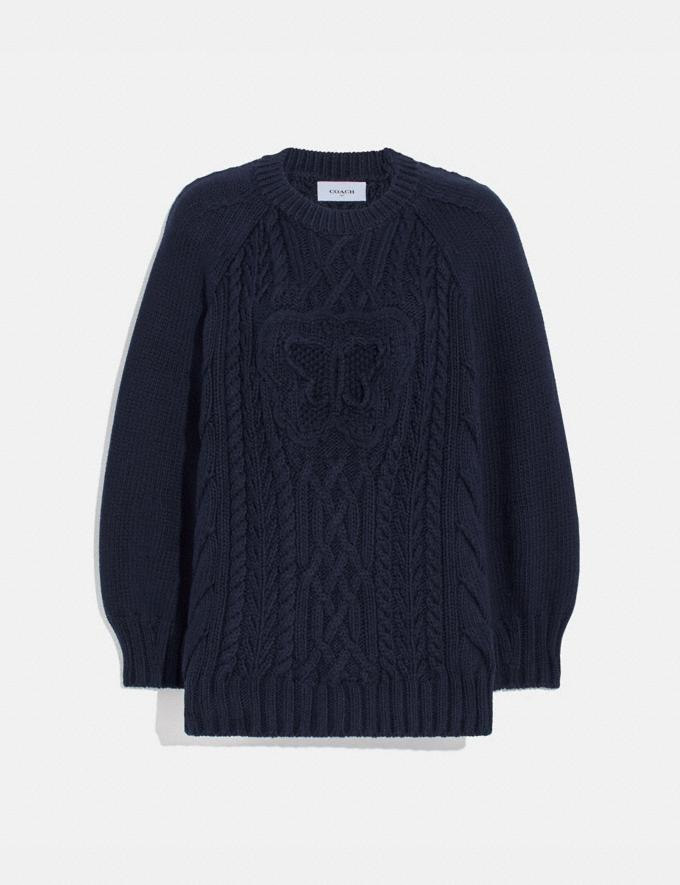 Coach Butterfly Aran Sweater Navy