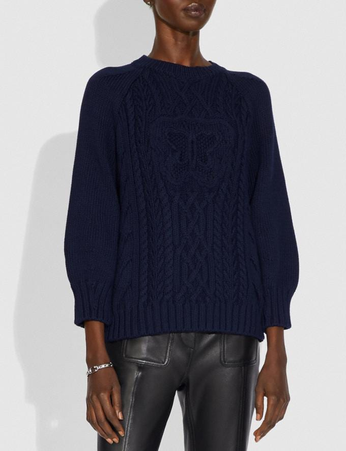 Coach Butterfly Aran Sweater Navy  Alternate View 1