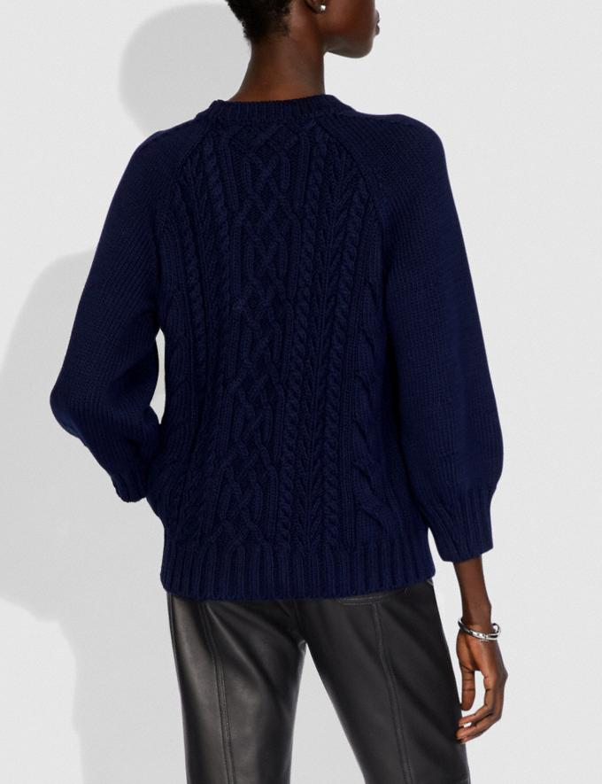Coach Butterfly Aran Sweater Navy Women Ready-to-Wear Tops Alternate View 2
