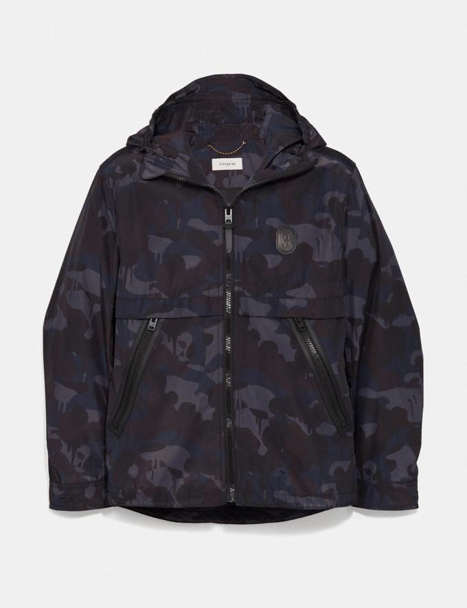 Coach Printed Windbreaker Blue Camo Men Ready-to-Wear Jackets & Outerwear