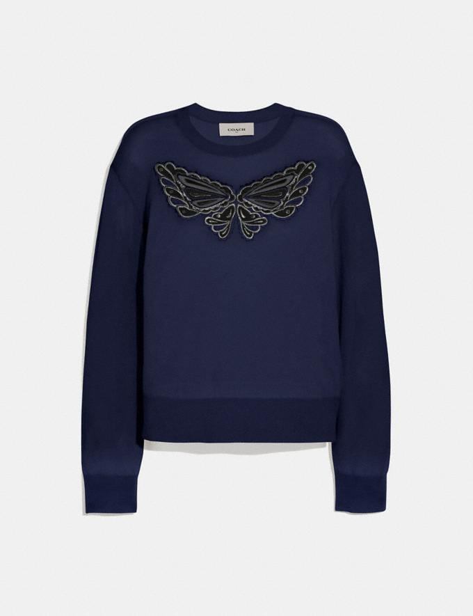 Coach Butterfly Lace Pullover Navy SALE Women's Sale Ready-to-Wear