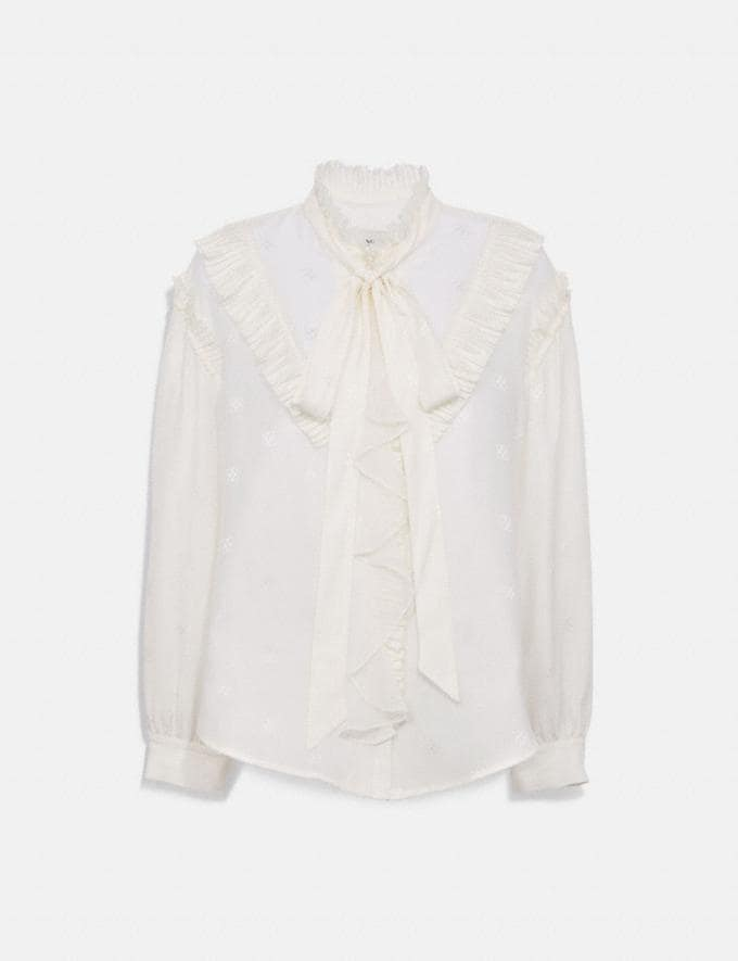 Coach Square Signature Jacquard Long Sleeve Prairie Top With Ruffles Cream Women Ready-to-Wear Tops