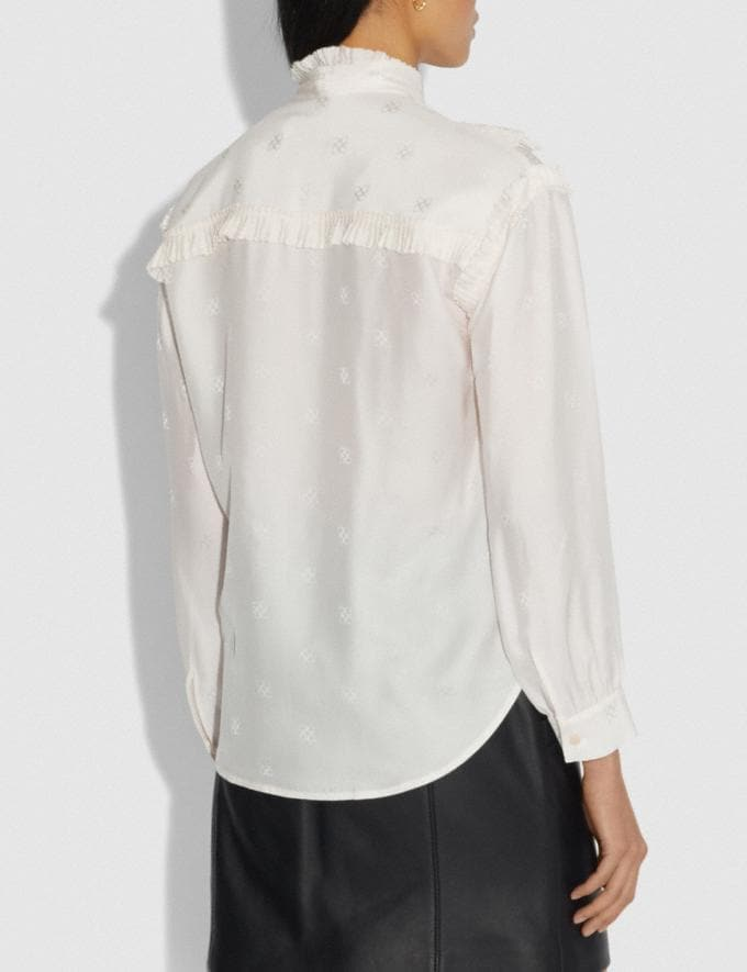 Coach Square Signature Jacquard Long Sleeve Prairie Top With Ruffles Cream Women Ready-to-Wear Tops Alternate View 2