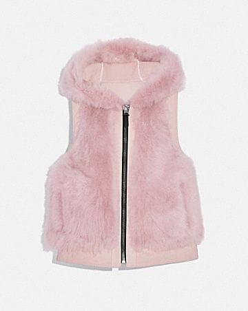 reversible shearling hoodie vest