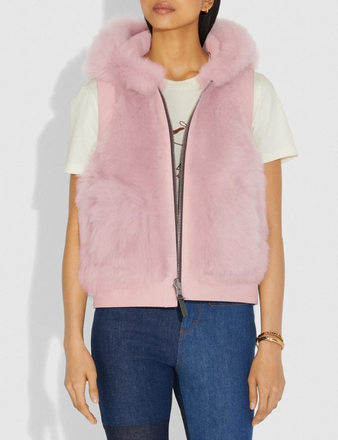 Coach Reversible Shearling Hoodie Vest Mauve SALE Women's Sale Ready-to-Wear Alternate View 1