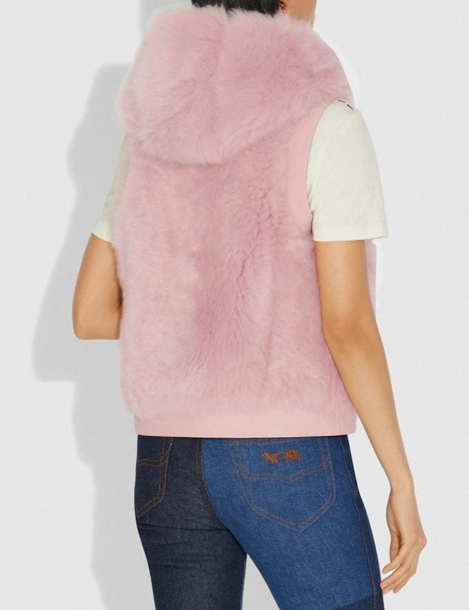 Coach Reversible Shearling Hoodie Vest Mauve SALE Women's Sale Ready-to-Wear Alternate View 2