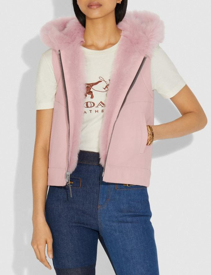 Coach Reversible Shearling Hoodie Vest Mauve SALE Women's Sale Ready-to-Wear Alternate View 3