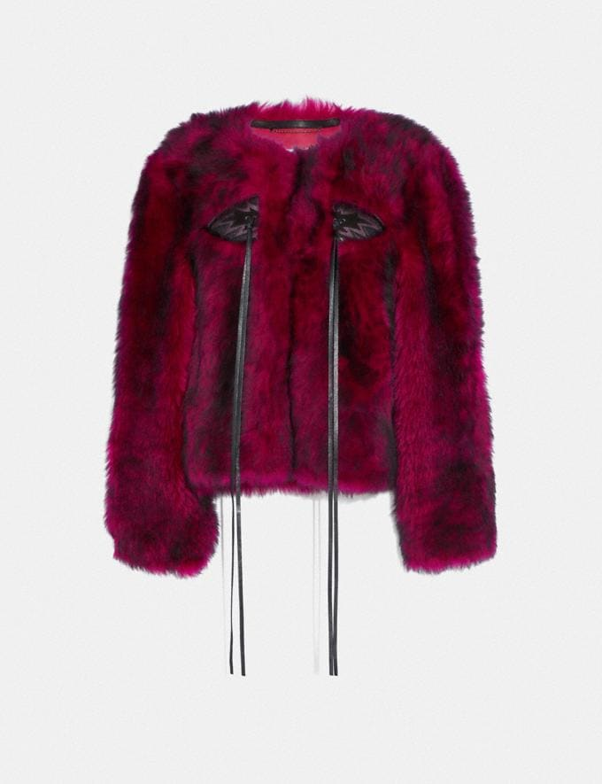 Coach Glam Punk Shearling Jacket Fuchsia Women Ready-to-Wear Coats & Jackets