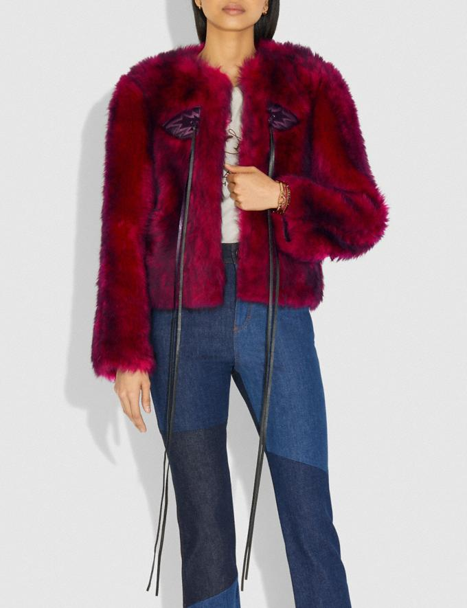 Coach Lammfelljacke Im Glam-Punk-Look Fuchsia Damen Bearbeitungen Party Alternative Ansicht 1
