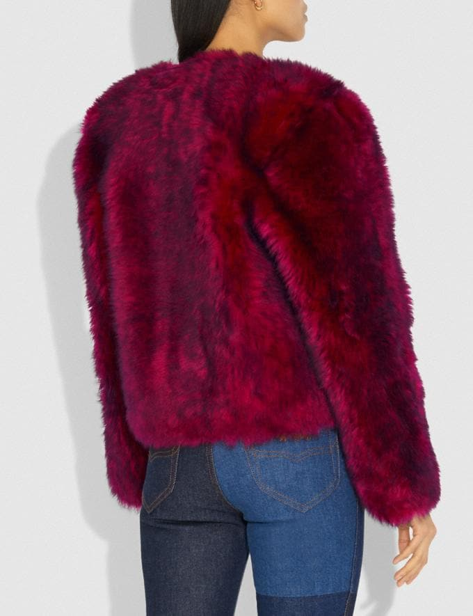 Coach Glam Punk Shearling Jacket Fuchsia Women Ready-to-Wear Coats & Jackets Alternate View 2