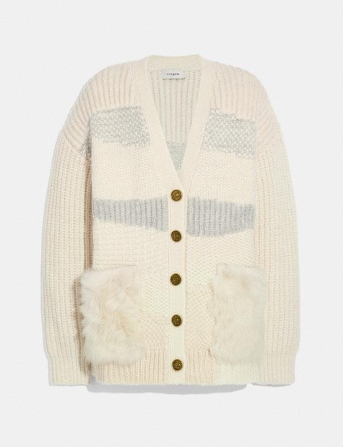 Coach Cardigan With Shearling Ivory New Women's New Arrivals Ready-to-Wear