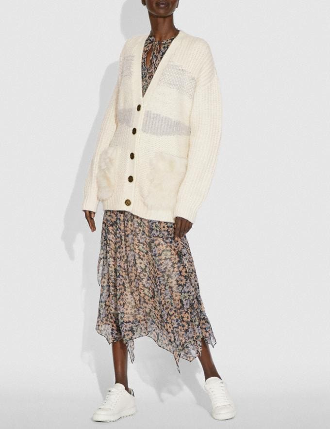 Coach Cardigan With Shearling Ivory New Women's New Arrivals Ready-to-Wear Alternate View 1